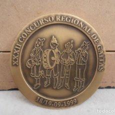 Trofeos y medallas: MEDALLON BRONCE - XXXII CONCURSO REGIONAL DE GAITAS 1999 - CAETANO - PUENTEAREAS AYUNTAMIENTO. Lote 154155282