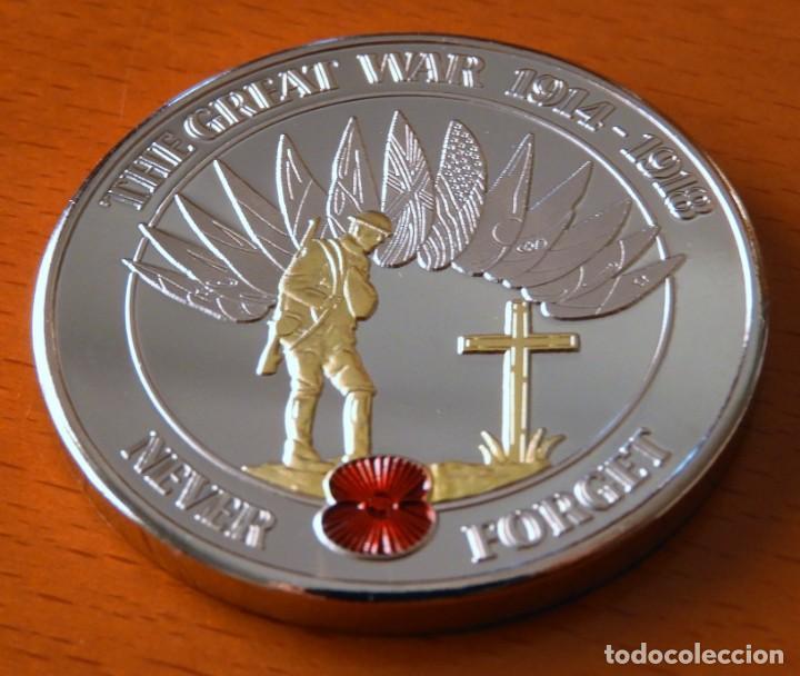 Trofeos y medallas: MONEDA CONMEMORATIVA 1 GUERRA MUNDIAL - BAÑADA EN ORO 24 KILATES - 1914 - 1918 - Foto 4 - 155149094