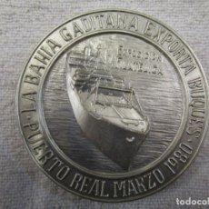 Trofeos y medallas: FILATELIA - MEDALLA PLATA ' LA BAHIA GADITANA EXPORTA BUQUES ', EXPOSICIÓN FILATÉLICA, PUERTO REAL+. Lote 156560918