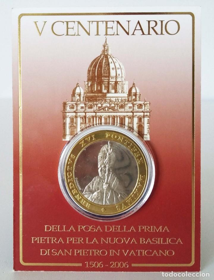 MEDALLA V CENTENARIO BASÍLICA VATICANA: DESDE LA POSTURA DE LA PRIMERA PIEDRA (1506-2006) (Numismática - Medallería - Trofeos y Conmemorativas)