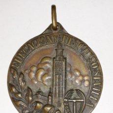 Trofeos y medallas: MEDALLA EDUCACION Y DESCANSO SEVILLA.CAMPEONATO NACIONAL DE CICLISMO 1956. Lote 161445465