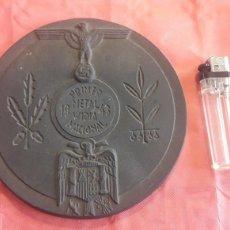 Trofeos y medallas: GRAN PLACA ,MEDALLA HISPANO/ALEMANA 1943 SÍMBOLO NAZI.. Lote 161531252