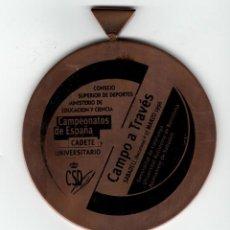 Trofeos y medallas: CAMPEONATOS DE ESPAÑA, CADETE Y UNIVERSITARIO. SABADELL, 1996 - CAMPO A TRAVÉS. Lote 169552284