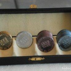 Trofeos y medallas: ESTUCHE MEDALLA FICHA CONMEMORATIVA DE BOTONES TRES CERCOS, PELEGRIN FEU, 144 ANIVERSARIO. AÑO 1969. Lote 169929652