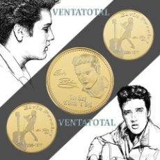 Trofeos y medallas: MEDALLA TIPO MONEDA ORO 24 KILATES ANIVERSARIO DE ELVIS PRESLEY - REY DEL ROCK AND ROLL - Nº7. Lote 170034700