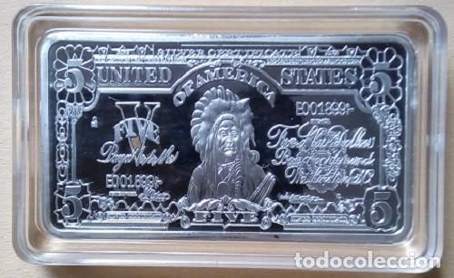 ESTADOS UNIDOS - LINGOTE 5 DOLARES BAÑADO EN PLATA 45 GRAMO (GRAN JEFE INDIO AMERICANO) (Numismática - Medallería - Trofeos y Conmemorativas)