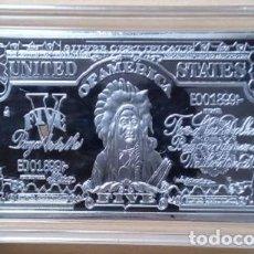 Trofeos y medallas: ESTADOS UNIDOS - LINGOTE 5 DOLARES BAÑADO EN PLATA 45 GRAMO (GRAN JEFE INDIO AMERICANO). Lote 170195684