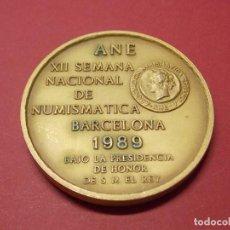 Trofeos y medallas: MEDALLA XII SALON NACIONAL DE NUMISMATICA 1989 - ANE - BARCELONA... L83. Lote 170646630