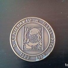 Trofeos y medallas: MONEDA MEDALLA IV CENTENARIO DE MARIA PITA 1589 - 1989 - AYUNTAMIENTO DE LA CORUÑA - DIÁMETRO 5. Lote 170981199
