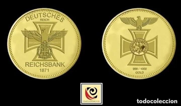 MONEDA REICHSBANK 1871 - CONMEMORATIVA -CRUZ AGUILA - ALEMANIA - ORO 999 (Numismática - Medallería - Trofeos y Conmemorativas)