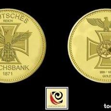 Trofeos y medallas: MONEDA REICHSBANK 1871 - CONMEMORATIVA -CRUZ AGUILA - ALEMANIA - ORO 999 . Lote 172251264