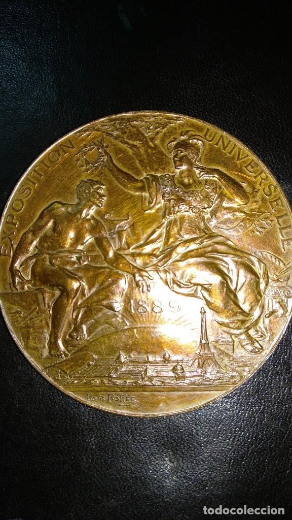 Trofeos y medallas: MEDALLA DE BRONCE - EXPOSICIÓN UNIVERSAL DE PARÍS 1889 - REPÚBLICA FRANCESA - LOUIS BOTTEE - Foto 3 - 176496709