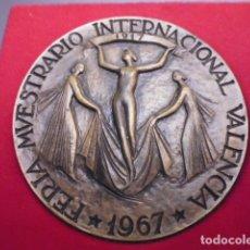 Trofeos y medallas: FERIA MUESTRARIO INTERNACIONAL,VALENCIA. CINCUENTENARIO 1917-1967, BRONCE, 65MM. Lote 177797887