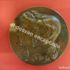 Trofeos y medallas: EXPOSICION HISPANO-FRANCESA. ZARAGOZA 1908. BRONCE 100 GR. 6 CTMS. DIÁMETRO. Lote 178126924