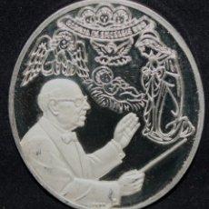 Trofeos y medallas: MEDALLA PAU CASALS CONMEMORATIVA DL PESSEBRE EN PLATA PURA. AÑO 1973. EDICION LIMITADA A 50 UNIDADES. Lote 178865651