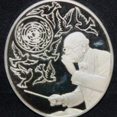Trofeos y medallas: MEDALLA PAU CASALS CONMEMORATIVA EN PLATA PURA. AÑO 1973. EDICION LIMITADA A 50 UNIDADES. Lote 178865853