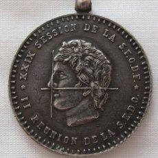 Trofeos y medallas: MEDALLA PLATA CONGRESO HISPANO FRANCES DENTISTAS ODONTOLOGOS MADRID 1956. Lote 180127985