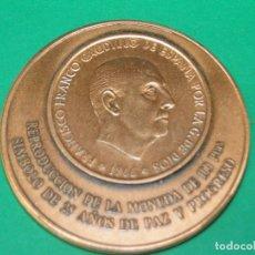 Trofei e Medaglie: REPRODUCCION DE LA MONEDA DE 100 PTAS. SIMBOLO DE 25 AÑOS DE PAZ Y PROGRESO. Lote 182161686