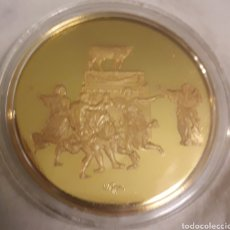 Trofeos y medallas: MEDALLON DE PLATA Y ORO CONMEMORATIVA NICOLÁS POUSSIN. Lote 183863412