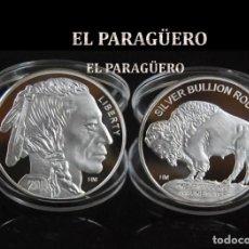 Trofeos y medallas: ESTADOS UNIDOS MEDALLA TIPO MONEDA PLATA ( GRAN JEFE INDIO Y BUFALO ) - PESO 30 GRAMOS - Nº1. Lote 236154795