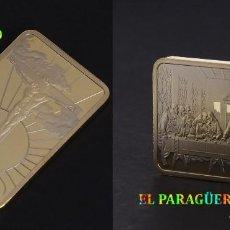 Trofeos y medallas: LINGOTE ORO 24 KILATES 33 GRAMOS ( LA ULTIMA CENA Y JESUS EN LA CRUZ ) Nº3. Lote 186178552