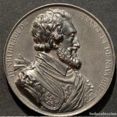 Trofeos y medallas: MEDALLA EN PLOMO ENRIQUE IV HENRI IIII REY DE FRANCIA Y DE NAVARRA (1589-1610) FIRMA CASQUE. Lote 188697711