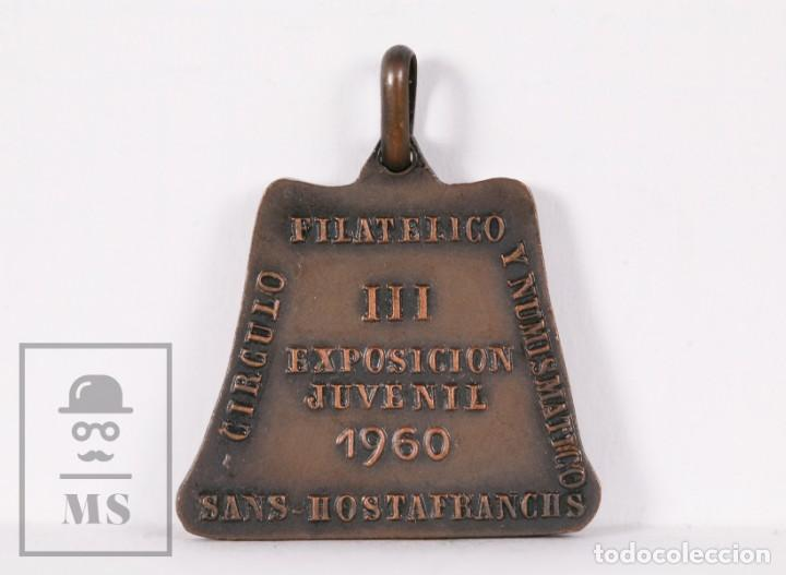 Trofeos y medallas: Medalla de Cobre - Círculo Filatélico y Numismático Barcelona - Niño Haciendo Pompas - Vallmitjana - Foto 2 - 191180100