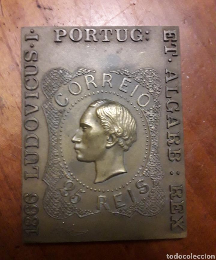 MEDALLON DE BRONCE SELLO 25 REIS (Numismática - Medallería - Trofeos y Conmemorativas)