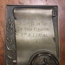 Trofeos y medallas: VALE FIGUEIRA PORTUGAL CAMPO DE TENIS MEDALLON DE BRONCE. Lote 194271427