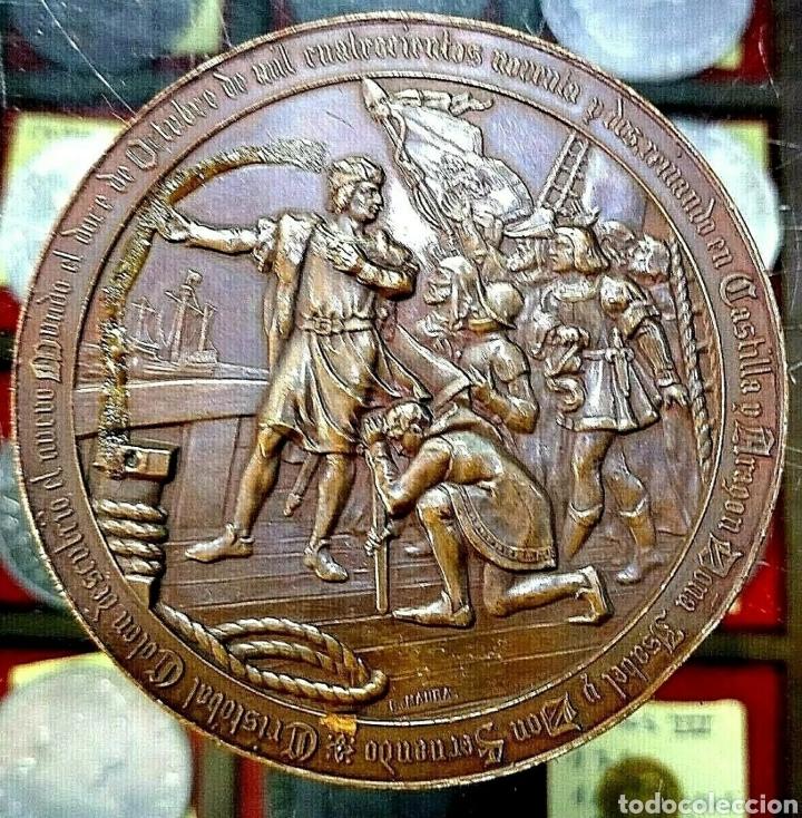 MEDALLA CRISTÓBAL COLÓN / 4° CENTENARIO DESCUBRIMIENTO AMÉRICA / 1892 / BRONCE/ 70MM/ 184,86 GRAMOS (Numismática - Medallería - Trofeos y Conmemorativas)