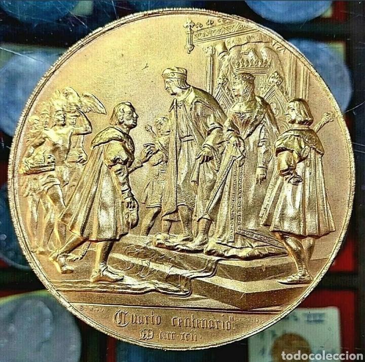 Trofeos y medallas: Medalla Cristóbal Colón / 4° Centenario Descubr América / 1892 / Bronce Dorado/ 70mm/ 184,86 gramos - Foto 2 - 194358001