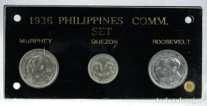 MEDALLAS EN PLATA 1936 PHILIPPINES COMM. SET - MURPHEY - QUEZON - ROOSEVELT (Numismática - Medallería - Trofeos y Conmemorativas)