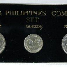 Trofeos y medallas: MEDALLAS EN PLATA 1936 PHILIPPINES COMM. SET - MURPHEY - QUEZON - ROOSEVELT . Lote 194615203