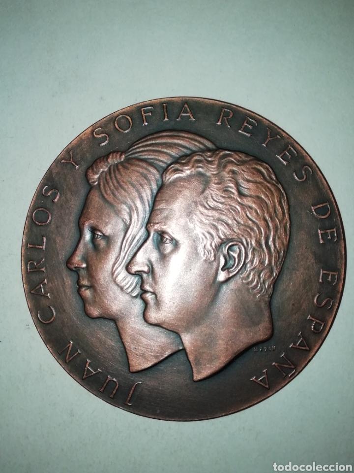 MEDALLA FNMT JUAN CARLOS Y SOFÍA MARÍN 1975. 8CM (Numismática - Medallería - Trofeos y Conmemorativas)