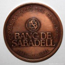 Trofeos y medallas: MEDALLA CONMEMORATIVA DEL CENTENARIO DE BANC SABADELL (1881-1981). FIRMADO PUJOL. Lote 197644257