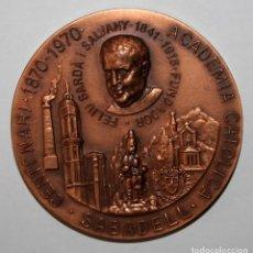 Trofeos y medallas: MEDALLA CONMEMORATIVA DEL CENTENARIO DE LA ACADEMIA CATÓLICA DE SABADELL (1870-1970). Lote 197647678