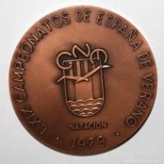 Trofeos y medallas: MEDALLA EN BRONCE DEL C.N. MONTJUIC (BARCELONA). LXIX CAMPEONATOS DE ESPAÑA DE VERANO (1979). Lote 197648258