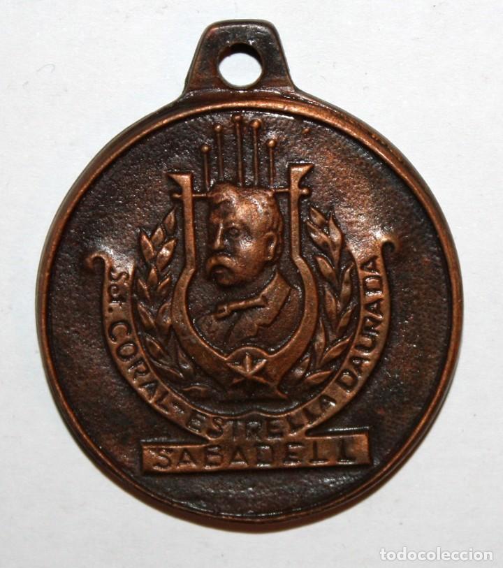 MEDALLA CONMEMORATIVA DE SOCIETAT CORAL ESTRELLA DURADA (SABADELL). HOMENATGE MAGÍ TORRAS (Numismática - Medallería - Trofeos y Conmemorativas)