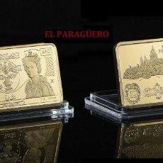 Trofeos y medallas: LINGOTE 5O LIBRAS ORO DE 24 KILAT 44 GRAMOS( REINA ELIZABETH 2ª Y CHRISTOFER WREN )Nº1. Lote 198852911
