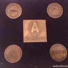 Trofeos y medallas: ESTUCHE CON 5 MEDALLAS DE ALIMENTARIA 2000. Lote 199843938