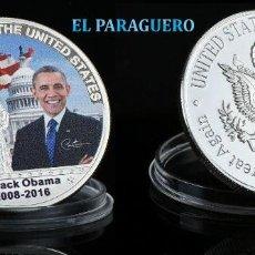 Trofeos y medallas: ESTADOS UNIDOS MEDALLA PLATA TIPO MONEDA ( HOMENAJE AL PRESIDENTE OBAMA ) - PESO 34 GRAMOS - Nº3. Lote 199886781