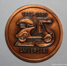 Trofeos y medallas: MEDALLA CONMEMORATIVA 25º ANIVERSARIO VESPA CLUB ESPAÑA. SABADELL. (1955-1980). REALIZADA EN BRONCE. Lote 295335123