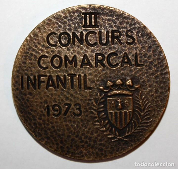 Trofeos y medallas: MEDALLA CONMEMORATIVA EXPOSICIO FILATELIA APLEC DE LA SALUT SABADELL. III CONCURS INFANTIL (1973) - Foto 2 - 200558018