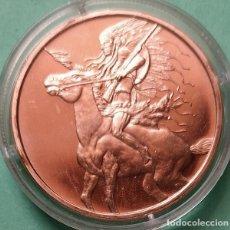 Trofeos y medallas: ESTADOS UNIDOS - MEDALLA DE COBRE SERIE INDIA - RED HORSE - PURO 999 - UNA ONZA AVDP . ENCAPSULADA. Lote 202599017