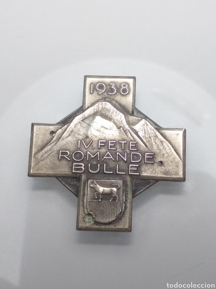 ANTIGUA MEDALLA DE HUGUENIN FRERES 1938 SUIZA IV ROMANDE BULLE (Numismática - Medallería - Trofeos y Conmemorativas)