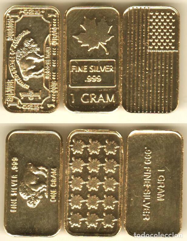 3 LINGOTES EN ORO PURO 24 KT. 1 GRAMO. PLATA PURA 999. (Numismática - Medallería - Trofeos y Conmemorativas)