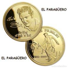 Trofeos y medallas: MEDALLA TIPO MONEDA ORO ANIVERSARIO DE ELVIS PRESLEY - REY DEL ROCK AND ROLL - Nº4. Lote 206494430