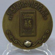 Trofeos y medallas: MEDALLA BRONCE FEDERACIÓN SOCIEDADES FILATÉLICAS MIÑO MOSTRA 1988. Lote 207935093
