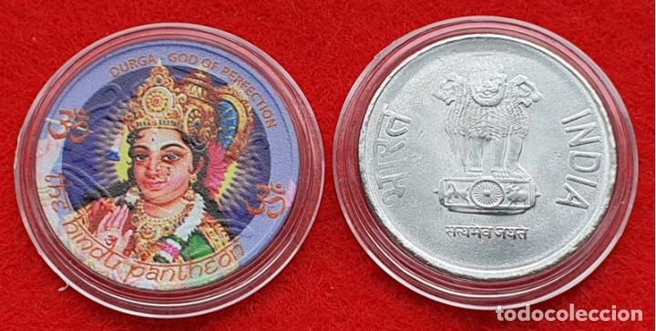 INDIE 2RS COLOR DURGA (Numismática - Medallería - Trofeos y Conmemorativas)