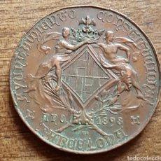 Trofeos y medallas: RARA MEDALLA CONMEMORATIVA AYUNTAMIENTO CONSTITUCIONAL BARCELONA 1898 FERIA CONCURSO AGRICOLA. Lote 212973302